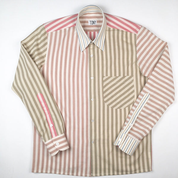 COLORANT X TONY SHIRTMAKER WOVEN COTTON SHIRT | MULT-STRIPE No.1
