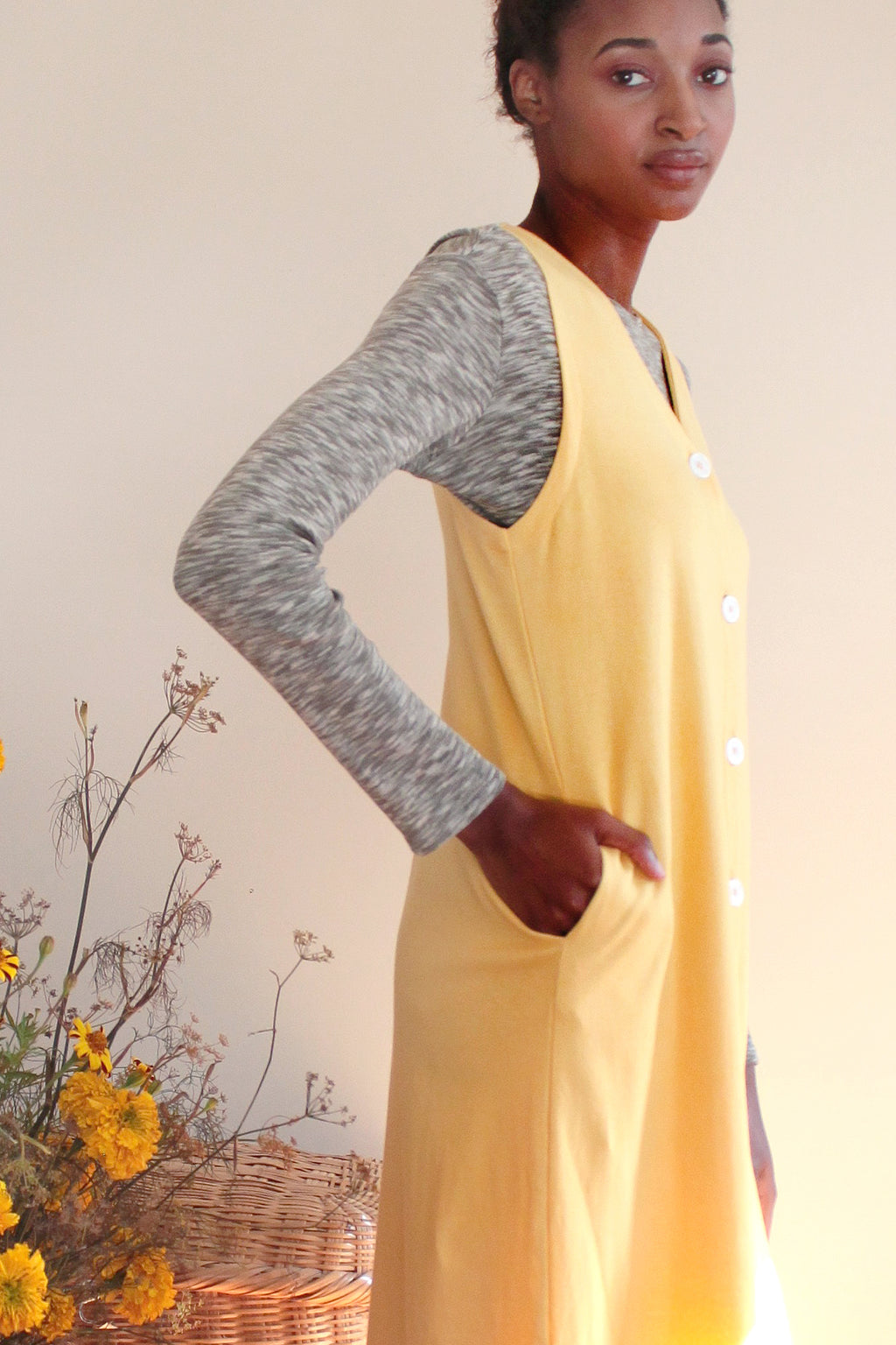 THEO VEST DRESS | CANARY