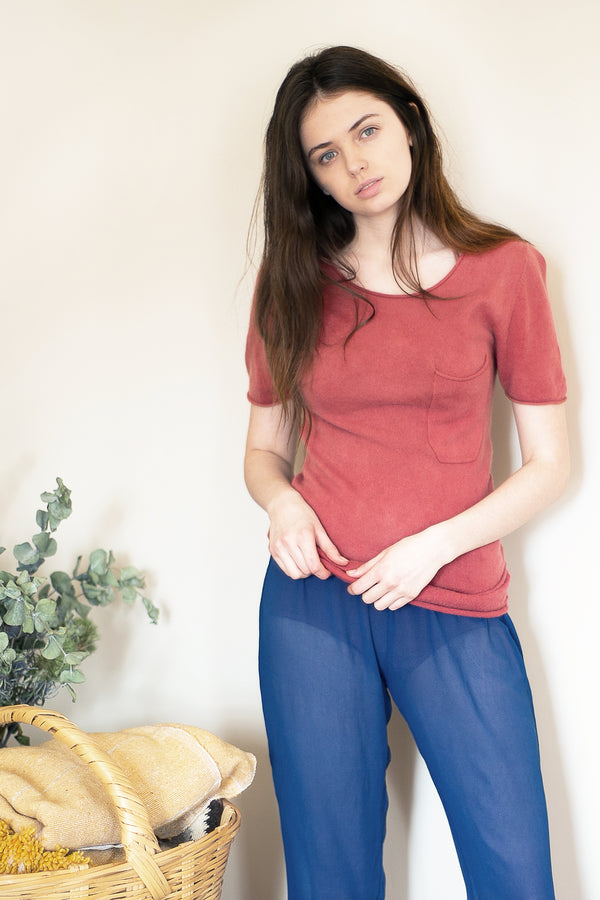 COLORANT CASHMERE POCKET TEE | TERRACOTTA