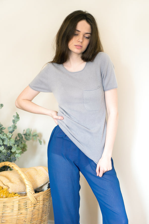 COLORANT CASHMERE POCKET TEE | TARO