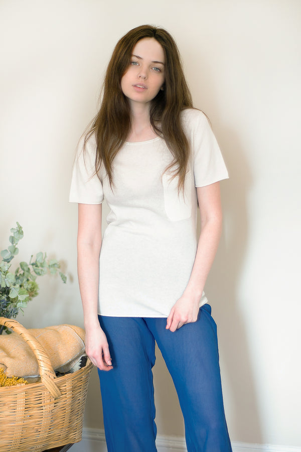 COLORANT CASHMERE POCKET TEE | IVORY