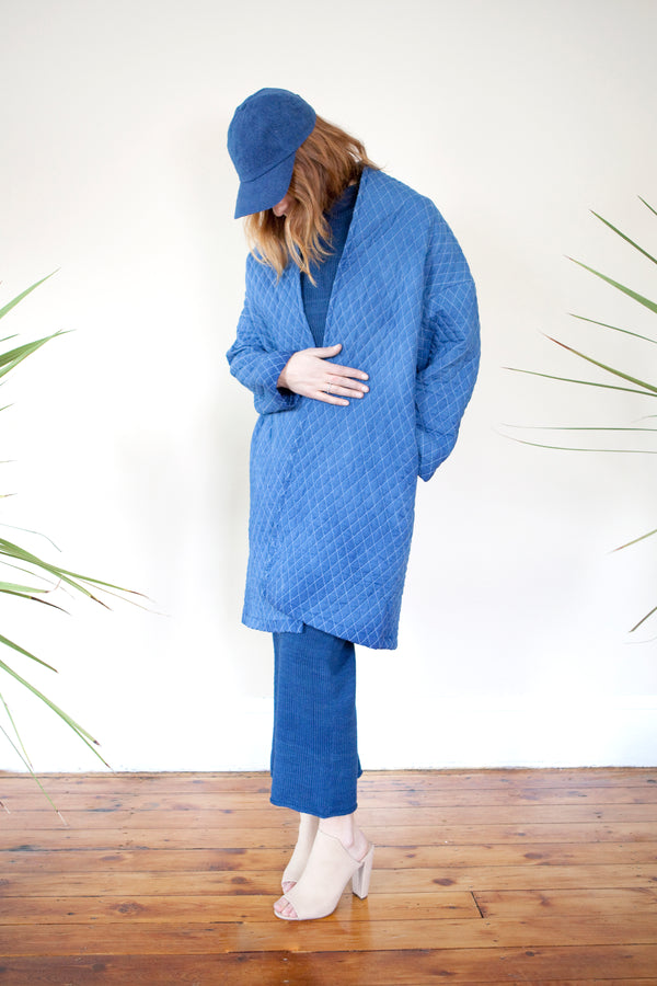 COLORANT QUILTED COCOON COAT | INDIGO
