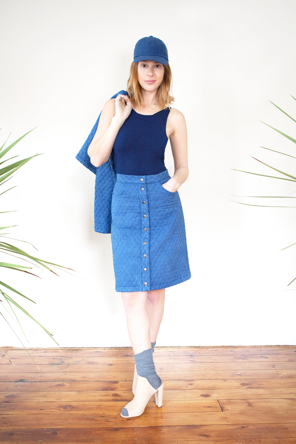 COLORANT QUILTED COTTON SKIRT | INDIGO