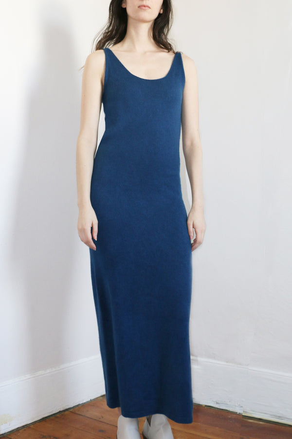 COLORANT CASHMERE TANK DRESS | INDIGO