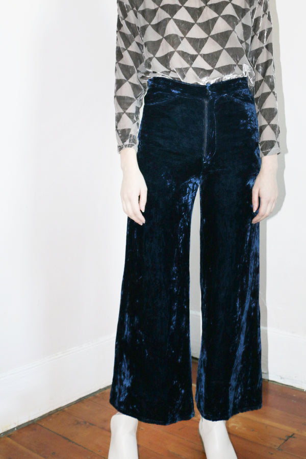 COLORANT HIGH WAISTED VELVET PANTS | INDIGO