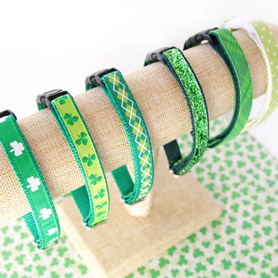 "St. Patrick's Day Cat Collar - ""Solsbury Hill"" - Green Argyle Plaid - Breakaway Buckle or Non-Breakaway - Cat, Kitten & Small Dog Sizes"