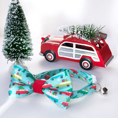 "Holiday Cat Collar - ""Christmas Vacation"" - Trees on Cars Mint Cat Collar - Breakaway Buckle or Non-Breakaway / Cat, Kitten + Small Dog Sizes"