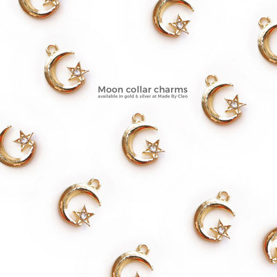 "Cat Collar - ""Moon Phases"" - Night Sky Blue Cat Collar / Breakaway or Non-Breakaway / Lunar Eclipse, Star Party / Cat, Kitten, Small Dog Sizes"