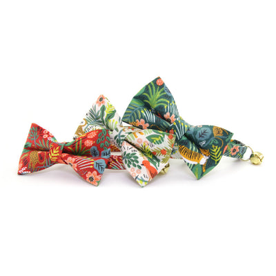 "Bow Tie Cat Collar Set - ""Jungle Green"" - Rifle Paper Co® Tropical Cat Collar + Matching Bow Tie (Removable)"