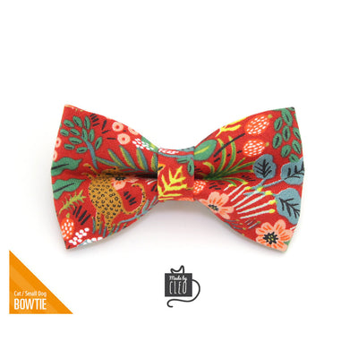 "Cat Bow Tie - ""Jungle Red"" - Rifle Paper Co® Tropical Bow Tie for Cat, Kitten or Small Dog - Removable / One Size"