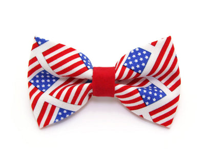 "Bow Tie Cat Collar Set - ""Old Glory"" - American Flag Pet Collar + Matching Bow Tie (Removable) / 4th of July"