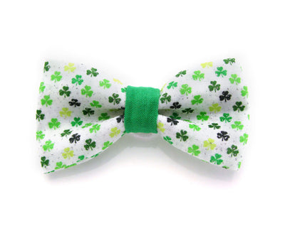 "St. Patrick's Day Bow Tie Cat Collar Set - ""Solsbury Hill"" - Green Argyle Plaid Collar + Detachable 'Shamrock Shore' Bow Tie"