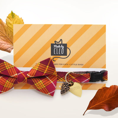 "Fall Cat Collar - ""Brandywine"" - Burgundy & Gold Plaid Cat Collar - Breakaway Buckle or Non-Breakaway / Cat, Kitten + Small Dog Sizes"