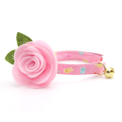 "Cat Collar + Flower Set - ""Bunny Peeps"" - Pink Pastel Easter Bunny Cat Collar w/ Baby Pink Felt Flower (Detachable)"
