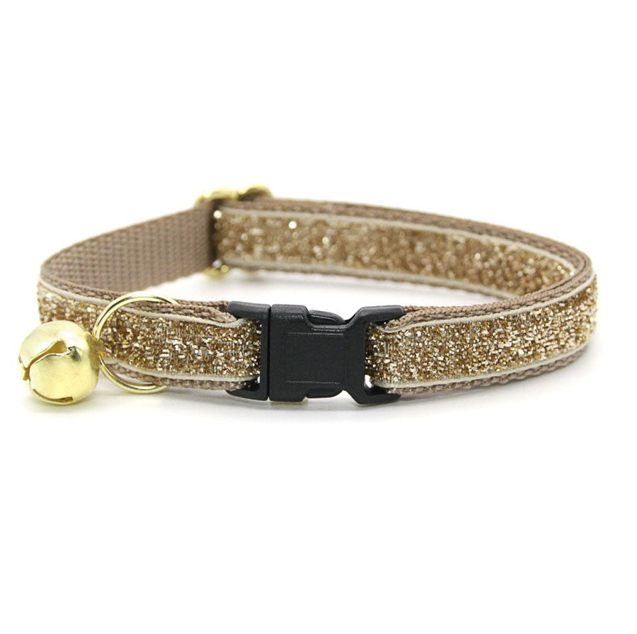 "Cat Collar - ""Champagne"" - Light Gold Sparkle Cat Collar / Breakaway Buckle or Non-Breakaway / Cat, Kitten + Small Dog Sizes"