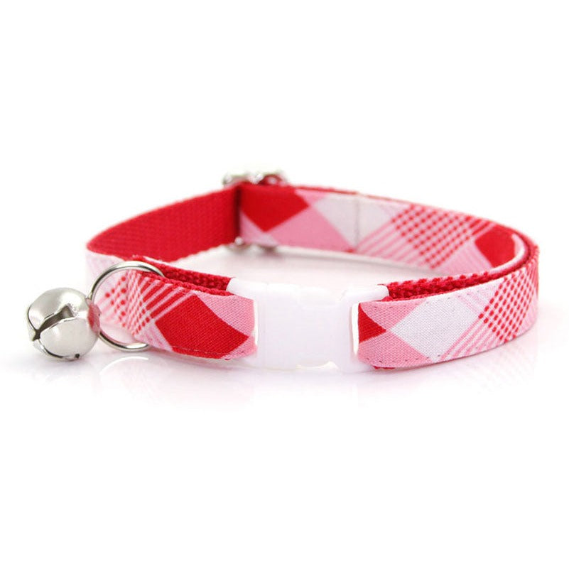 "Plaid Cat Collar - ""True Love"" - Modern Red Plaid - Breakaway Buckle or Non-Breakaway / Cat, Kitten + Small Dog Sizes"