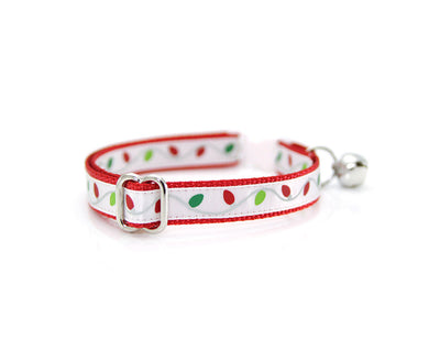 "Holiday Cat Collar - ""Christmas Lights"" - String Lights on Red - Breakaway Safety Buckle or Non-Breakaway - Sizes for Cat, Kitten, Small Dog"
