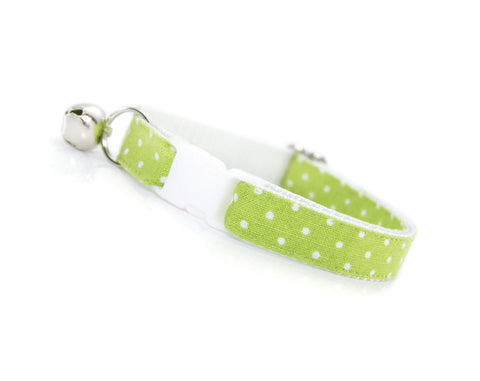 "Cat Collar - ""Apple Pie"" - Granny Smith Green w/ Polka Dots - Spring / Easter - Breakaway Buckle or Non-Breakaway - Cat, Kitten & Small Dog Sizes"