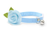 "Cat Collar + Flower Set - ""Color Collection - Light Blue"" - Cat Collar w/ ""Light Blue"" Felt Flower (Detachable) / Cat & Small Dog"