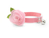 "Cat Collar + Flower Set - ""Color Collection - Coral Pink"" - Cat Collar w/ ""Baby Pink"" Felt Flower (Detachable) / Cat, Kitten & Small Dog"