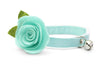 "Cat Collar + Flower Set - ""Color Collection - ""Mint"" - Cat Collar w/ ""Mint"" Felt Flower (Detachable) / Cat, Kitten & Small Dog"