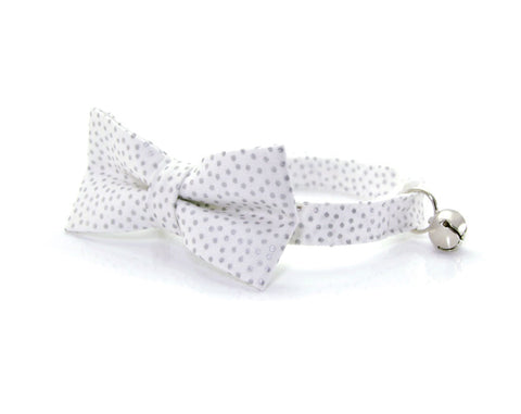 "Bow Tie Cat Collar Set - ""Alpine"" - White Collar w/ Silvery Dots + Matching Detachable Bow Tie"