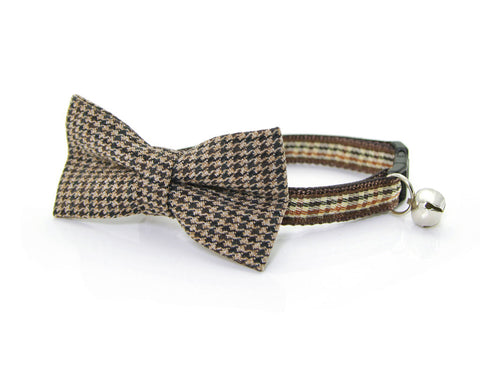 "Bow Tie Cat Collar Set - ""Watson"" - Brown Houndstooth Check / Tweed Collar + Matching Detachable Bow Tie"