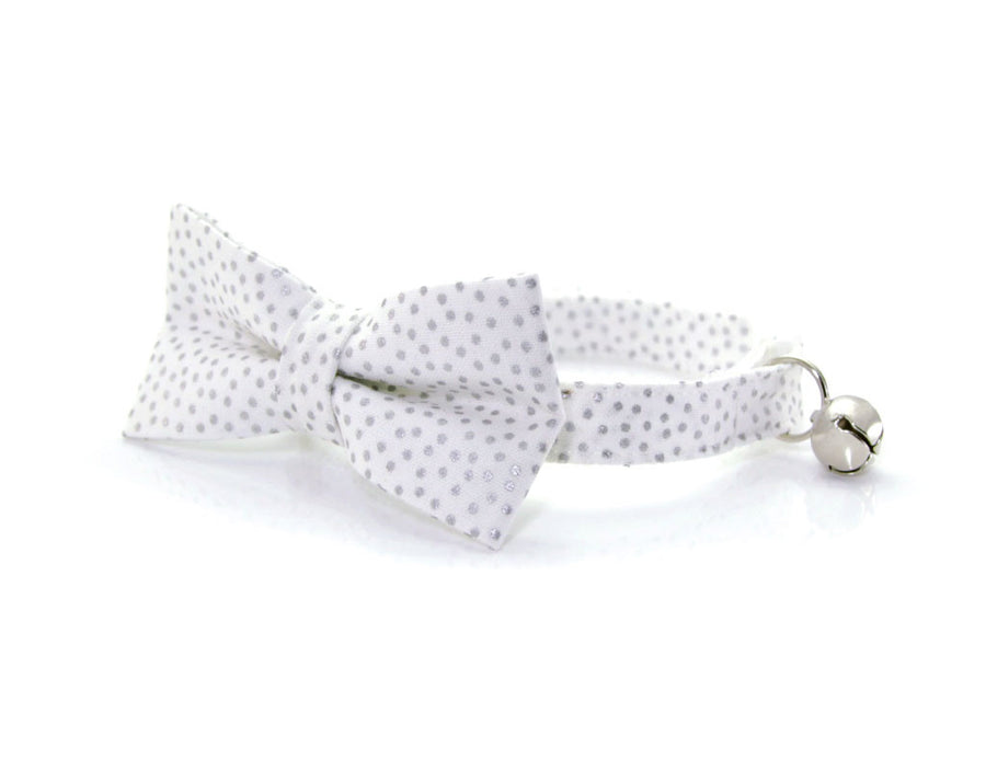 "Holiday Pet Bow Tie - ""Alpine"" - Silvery Dots on White - Winter / Christmas / Wedding - Detachable Bowtie for Cats + Dogs"
