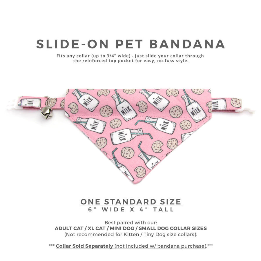 "Cookie Pet Bandana - ""Cookies and Milk - Pink"" - Bandana for Cat Collar or Small Dog Collar / Slide-on Bandana / Over-the-Collar (One Size)"