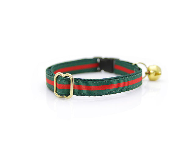 "Cat Collar - ""Crimson & Clover"" - Designer Red Stripe on Dark Green"
