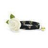 "Cat Collar + Flower Set - ""Deathly Hallows"" - Harry Potter-Inspired Cat Collar w/ ""Ivory"" Felt Flower (Detachable)"