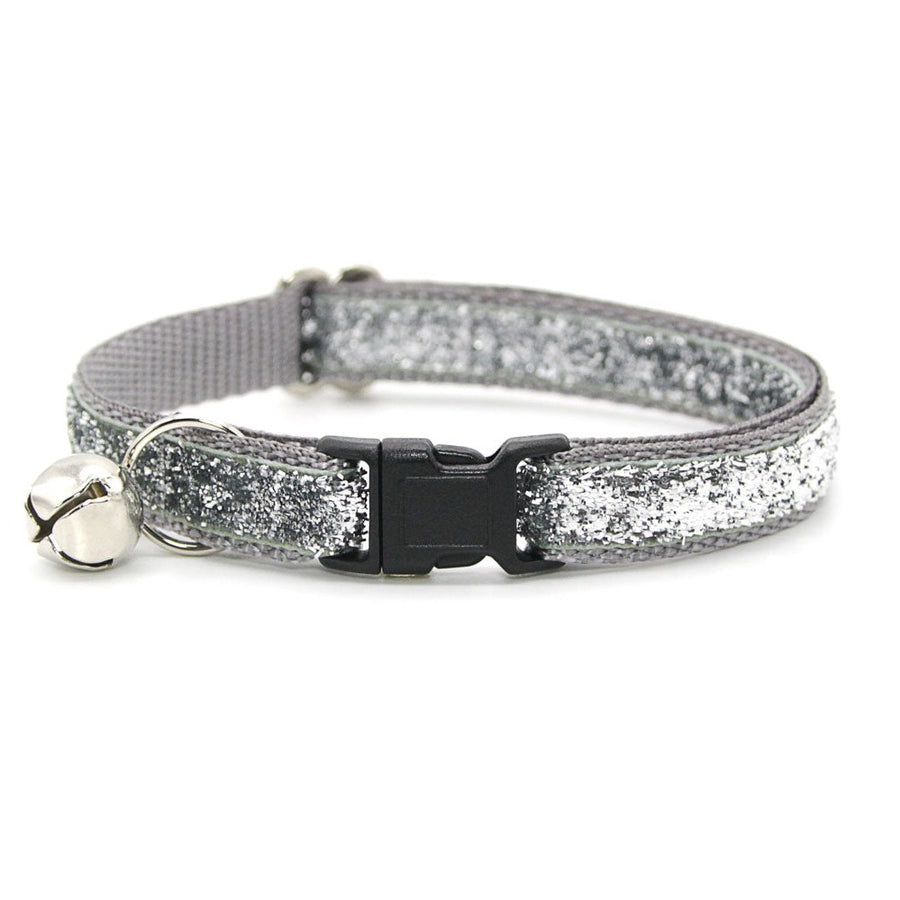 "Cat Collar - ""Discoball"" - Silver Sparkle Cat Collar / Breakaway Buckle or Non-Breakaway / Cat, Kitten + Small Dog Sizes"