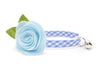 "Flower Cat Collar Set - ""Dreamboat"" - Blue Gingham Check Plaid Collar + Light Blue Felt Detachable Flower"