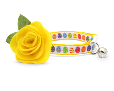 "Cat Collar & Flower Set - ""Easter Egg Yellow"" - Cat Collar + ""Buttercup Yellow"" Felt Flower (Detachable)"