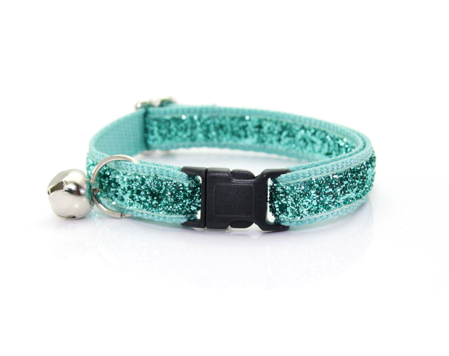 "Cat Collar - ""Enchanted"" - Mint Aqua Green Sparkle / Teal (Non-shedding) Glitter - Breakaway Buckle or Non-Breakaway / Cat, Kitten + Small Dog Sizes"
