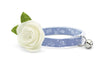 "Cat Collar + Flower Set - ""Fairfield"" - Light Blue Chambray Floral Cat Collar w/  ""Ivory"" Felt Flower (Detachable) / Wedding / Cat & Small Dog"