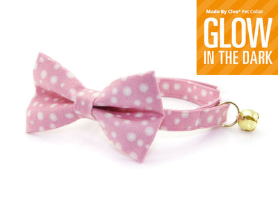 "Bow Tie Cat Collar Set - ""Fairy Lights"" - Light Pink Cat Collar w/ Matching Bow (Removable) - Glow-in-the-Dark"