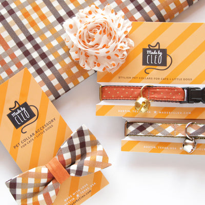 "Pet Bow Tie - ""Field Guide"" - Autumn Plaid - Fall / Thanksgiving - Detachable Bowtie for Cats + Dogs"