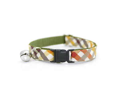 "Fall Cat Collar - ""Field Guide"" - Autumn Plaid w/ Olive Green - Breakaway or Non-Breakaway - Thanksgiving - Sizes for Cats & Small Dogs"