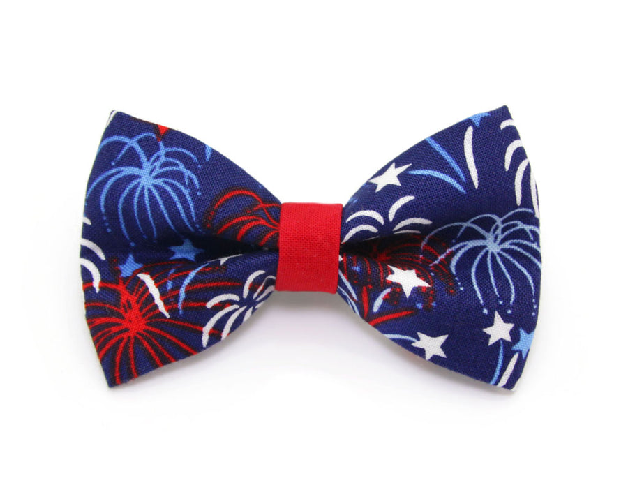 "Bow Tie Cat Collar Set - ""Fireworks / Blue"" - Celebration Pet Collar + Matching Bow Tie (Removable) / 4th of July"