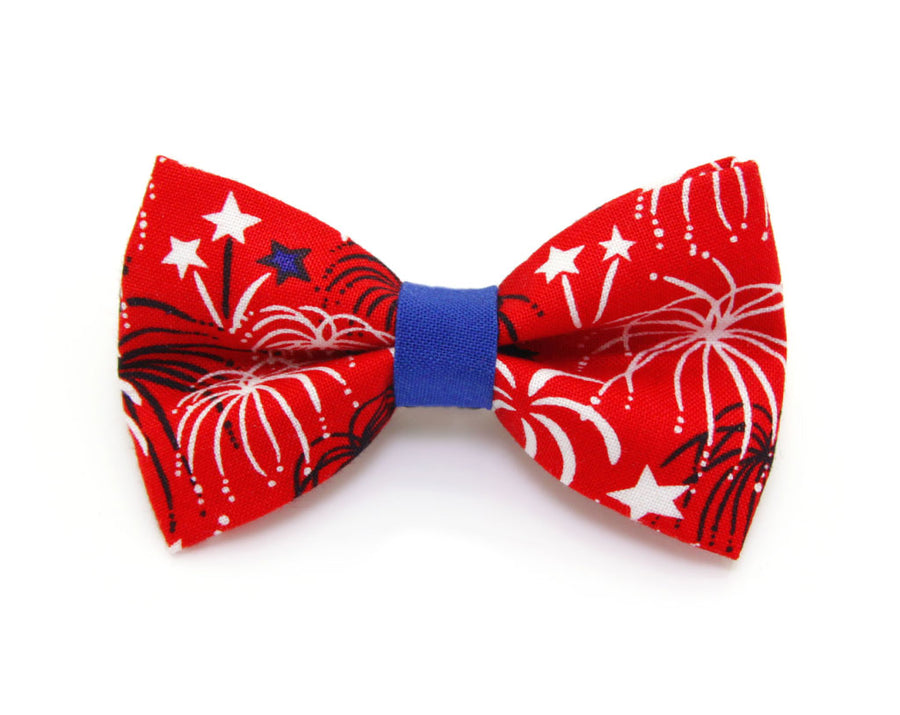 "Bow Tie Cat Collar Set - ""Fireworks / Red"" - Celebration Pet Collar + Matching Bow Tie (Removable) / 4th of July"