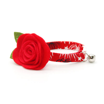 "Cat Collar + Flower Set - ""Fireworks Red"" - 4th of July Cat Collar w/ Scarlet Red Felt Flower (Detachable) / Independence Day"