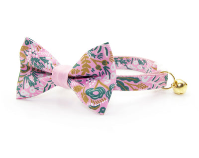 "Bow Tie Cat Collar Set - ""Freya"" - Rifle Paper Co® Floral Pink Cat Collar + Matching Bow Tie (Removable)"