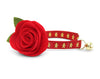 "Cat Collar + Flower Set - ""Gingerbread Red"" - Christmas Cookie Cat Collar w/ Scarlet Red Felt Flower (Detachable)"