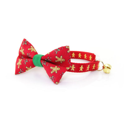 "Cat Collar - ""Gingerbread Red"" - Holiday Cookies on Red - Breakaway Buckle or Non-Breakaway / Cat, Kitten + Small Dog Sizes"