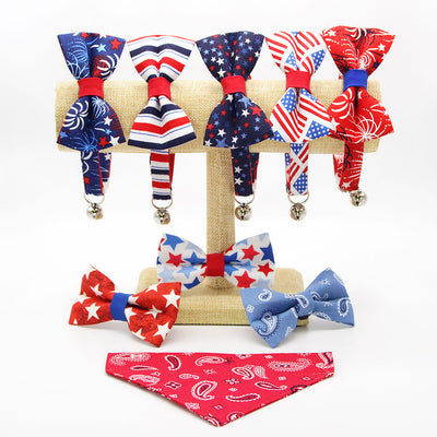 "Cat Collar + Flower Set - ""Fireworks Blue"" - 4th of July Cat Collar w/ Scarlet Red Felt Flower (Detachable) / Independence Day"