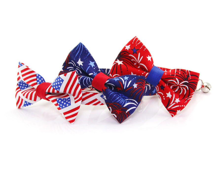 "Pet Bow Tie - ""Old Glory"" - American Flag Bowtie For Cats + Small Dogs / Red White & Blue / 4th of July"