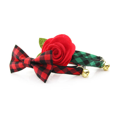 "Flower Cat Collar Set - ""Cozy Cabin Red"" - Red Buffalo Plaid Collar w/ Scarlet Red Felt Flower (Detachable) / Breakaway or Non-Breakaway"