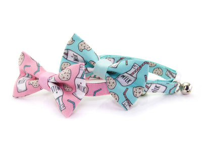 "Bow Tie Cat Collar Set - ""Cookies and Milk - Mint"" Cookie Cat Collar w/ Matching Bow Tie (Removable)"