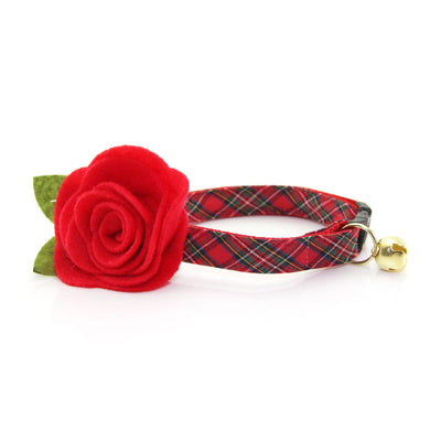"Cat Collar - ""Hearthside"" - Red Tartan Plaid - Breakaway Buckle or Non-Breakaway - Christmas - Sizes for Cats & Small Dogs"